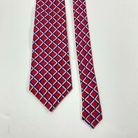 Turnbull Asser tie Navy And red Checks Plaid Silk Woven Tie  Made In England