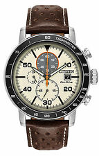 Citizen CA0649-06X Men's Eco-Drive Brown Brycen Leather Strap Chronograph Watch