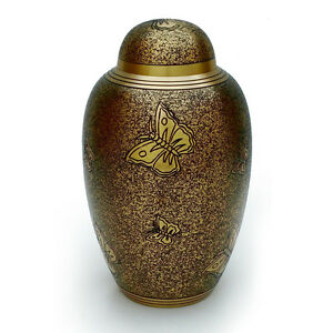 Brass Adult Urn Engraved in Antique Butterfly, Sprinkle Black Finish for Ashes