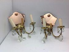 Art. 505 - Fantastica coppia di applique in ottone con base in specchio.