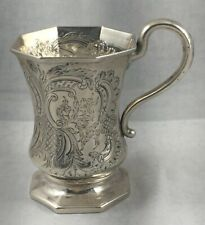 """Fancy Large Coin Silver 1847 G.Boyce, NY Octagonal Cup-4"""""""