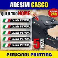 5 adesivi NOME COGNOME personalizzato CASCO MOTO bike BICI stickers Flag ITALIA