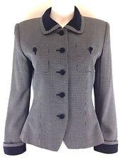 Kasper Asl Womens 4 Blazer Navy White Print Vtg Career Lined Collar Button Front