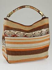 New YSL Yves Saint Laurent Orange Multicolored Striped Canvas/Python Large Roady