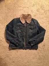 Gap Denim Distressed Acrylic Lined Denim Jacket...Size Medium 💛