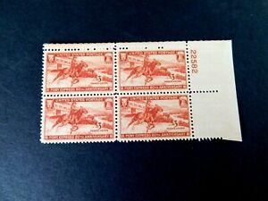 US #894 Plate Block of 4, Pony Express Rider, 1940, Mint/F/NH