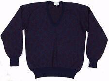 Vtg 100% Wool Blue & Purple Geometric Diamond Pattern V-Neck Sweater, Mens Large