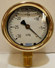 "WIKA 9318003 Industrial Pressure Gauge, Liquid-Filled, Copper 2-1/2"" Dial, 0-30"""