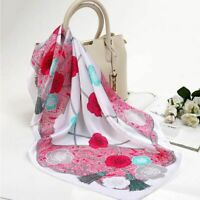 Women's Fashion Flower Silk Scarfs Camellia Floral Pattern Silk Satin Headscarfs