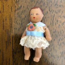 """Antique Rubber  Baby Doll 2"""" with Antique Outfit"""