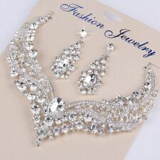 Beauty Women Bridal Rhinestone Necklace Earrings Jewelry Set Wedding Prom Party