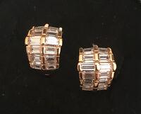 Luxus Ohrringe Creolen Ohrstecker Zirkonia weiß 750er Gold18 Karat vergoldet Neu