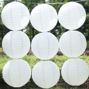 "5Pcs 6/8/10/12""White Chinese Round Paper Lanterns Lamp Shade Wedding Party Decor"