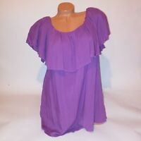 Annalee + Hope Womens Blouse Off Shoulder Ruffle Purple Plus Solid Shirt Top