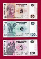 Set of 3 x 2013 CONGO BANKNOTES: 50 Francs (P-97), 100 Fr (P-98) & 200 Fr (P-99)