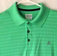 Izod Golf Mens Large Polo Shirt Performance Green Striped Short Sleeve White EUC