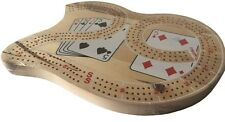 AUTHENTIC LARGE WOODEN CRIBBAGE BOARD - 3 TRACKS INCLUDING PEGS + COMPARTMENT