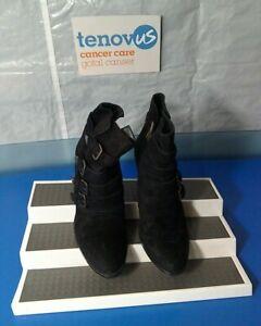 WBR49 Mint Velvet Harriet Black Suede Multi Strap Boot Size UK 4 / EU 37