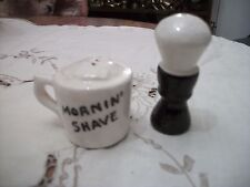 """Vintage """"Morning Shave""""  Cup and Brush Salt & Pepper Shakers"""