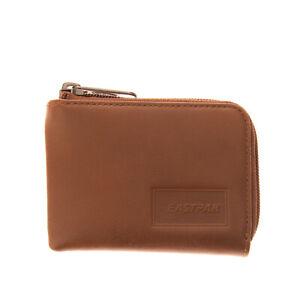 EASTPAK Leather Mini Wallet Brown Debossed Logo Card Pockets Zipped