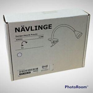 IKEA NAVLINGE Led Work Lamp Wall Clamp Spotlight White 204.498.95 NÄVLINGE New