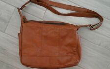 Women Solid Brown Genuine Pebble Leather Crossbody Hobo Handbag   Size M  11x8x4