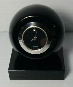Movado Museum Dial TBK000205M Black Crystal Sphere Clock Used Works New Battery