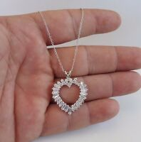 925 STERLING SILVER OPEN HEART NECKLACE PENDANT W/ 3.50 CT BAGUETTE DIAMOND/18''