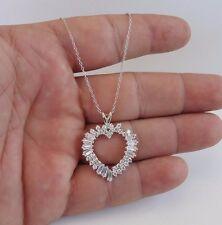 925 STERLING SILVER OPEN HEART NECKLACE PENDANT W/ 3.50 CT BAGUETTE DIAMOND/18''