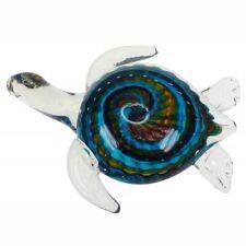Swirled Blue And Clear Glass Sea Turtle