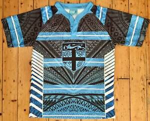 MEN'S FIJI RUGBY UNION SHIRT, SIZE XL, TOSO VITI TOSO, MADE FOR JACKS OF FIJI