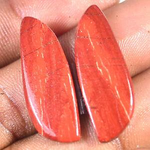 27.50 Carat Jaspilite Iron Red Jasper Natural Matched Pair Cabochon Gemstone