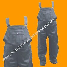 Mens Womens Black Leather Bib Overalls Chaps Pants SIZES XS TO 4X