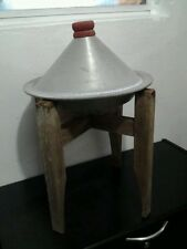 Vintage Couscous Platter with Wooden Base - Moroccan Serving Dish