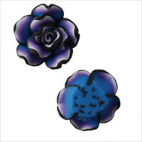 30x 110325+  Purple Flowers Charms Rainbow FIMO Polymer Clay Beads Finding 20mm