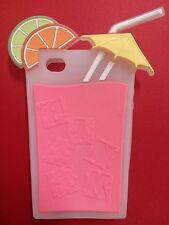 Cover case protettiva gomma silicone 3D per iPhone 4 4s cocktail bibita rosa
