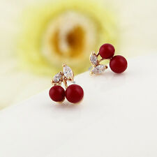 Hot Sale Fashion Red Big Cherry Stud Earrings For Woman Crystal Jewelry 1 Pair
