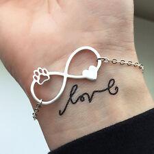 Bracciale da donna braccialetto con zampa di cane e cuore infinito color argento