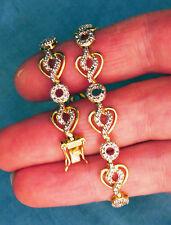 Sterling vermiel tennis bracelet, crystal look, safety clasp, signed DL