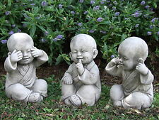 BUDDHA MONK SET Speak See Hear No Evil Garden Ornament Statue Koi ⧫onefold-uk