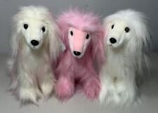 3 Afghan Hound Dog Plush Stuffed Toys Different Colors Purely Luxe