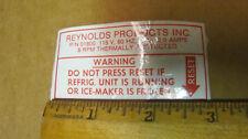 REYNOLDS Ice Maker Labels ,1 cleaning, 1 warning & 1 for transmission reset (3)