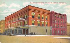 Cedar Rapids, IA Majestic Theatre Jim Block Street Scene Iowa Postcard ca 1910s