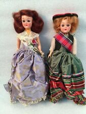 """2 Vintage Collectable 8"""" Hard Plastic Self Standing Dolls w/Full Length Flared D"""