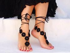 2pcs Black Crochet Foot Jewelry Barefoot Sandal Beach Wedding Charm Anklet Chain