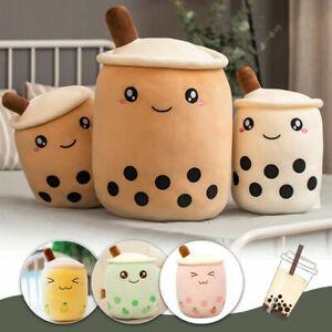 Kawaii Bubble Tea Boba Cup Pillow Soft Stuffed Plush Cushion Cute Brown 24cm