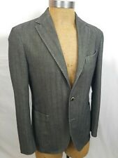 MSRP $1175 BOGLIOLI Gray Herringbone Cotton Sport Coat 38 R Eu 48 3 Roll LKNWOT
