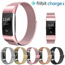 Stainless Steel Magnet Lock Replacement Spare Band Strap for Fitbit Charge 2 Rose Gold
