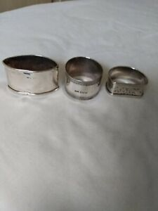 3 antique solid silver napkin rings hallmarked 1913 to 1925