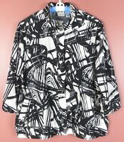 TB06546- ZENERGY By CHICO'S Women's Polyester Jacket Pockets 3/4 Sleeve Geo 3 XL